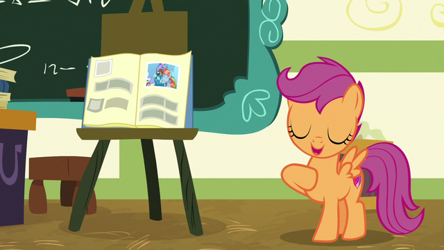File:Scootaloo giving her inspirational hero report S7E7.png