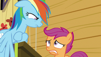 Scootaloo looks nervous at Rainbow Dash S8E20