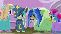 Silverstream, Sandbar, Yona, and Gallus in ruined costumes S8E7