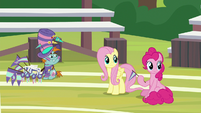 Snips, Fluttershy, and Pinkie looking back S9E15