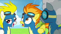 Spitfire sees Soarin and Fleetfoot approaching S6E7