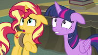 Sunset and Twilight apologizing to Celestia EGFF