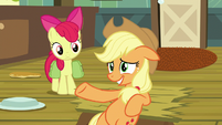 Applejack acting innocent next to filled hole S7E13