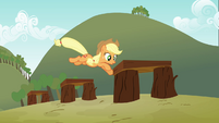 Applejack jumping over the hurdles S3E08