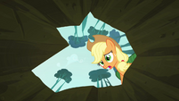 Applejack sees Scootaloo inside the hole S3E06