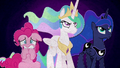 Celestia and Luna determined; Pinkie Pie scared BFHHS5.png