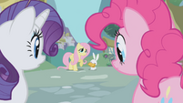 Fluttershy looks at Rarity and Pinkie Pie S1E03