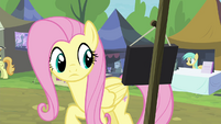 Fluttershy notices Stellar Eclipse's sign S4E22