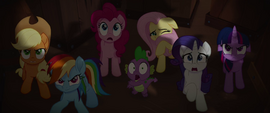 Mane Six and Spike look up at menacing parrots MLPTM