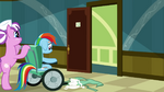 Rainbow Dash being pushed on a wheelchair S02E16