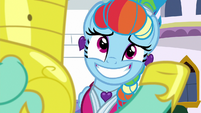 Rainbow grinning awkwardly at Zephyr S9E4
