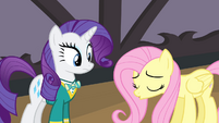 Rarity looking at sad Fluttershy S4E14