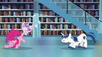 Shining Armor ready to leap towards Flurry Heart S6E2