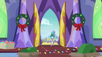 Spike bursts open the castle doors MLPBGE