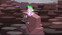 Spike sitting on Rarity and Twilight's rock costume S6E5