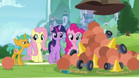Twilight and friends look at pile of equipment S9E15