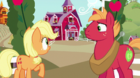 Young Applejack looking toward the barn S6E23