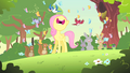 Filly Fluttershy singing with woodland creatures S1E23.png