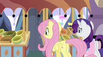 Fluttershy and Rarity in front of fruit stand S9E24