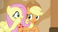 Fluttershy whispering to Applejack S6E20