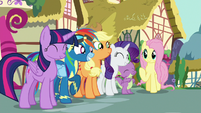 Main ponies and Spike happy and relieved S8E18