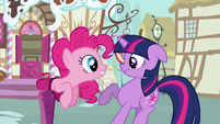 Pinkie Pie talking to Twilight from a mailbox S3E07