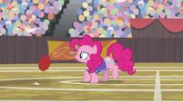 Pinkie sees buckball bouncing toward her S9E6