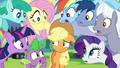 Ponies shocked about Applejack's question S5E24.png
