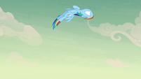 Rainbow Dash looping through the air S7E18