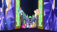 Rainbow and Fluttershy open throne room doors S5E03