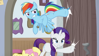 Rainbow and Rarity kick in the office door BGES3