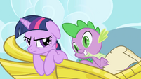 Spike reading Celestia's request to -make some friends- S1E01