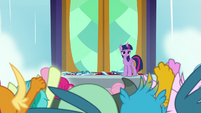 Students cheering for Twilight Sparkle S8E2