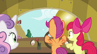 Sweetie Belle and Apple Bloom standing by Scootaloo S3E4
