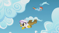 Young Rainbow and Gilda fly around the clouds S5E8