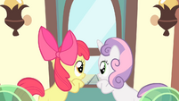 Apple Bloom and Sweetie Belle inside the train looking outside S4E05 (1)