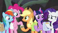 Applejack giving fly repellent to her friends S8E25