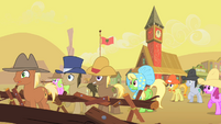 Appleloosa ponies watching buffalo gather S1E21