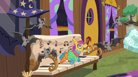 Bats fluttering around the living pinata S7E12