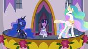 Celestia and Luna introducing Twilight S9E26