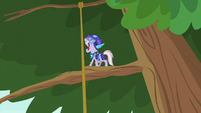 Dusty Pages shouting from tree branch S9E5