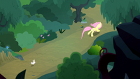 Fluttershy and Angel race through the forest S8E18