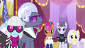 Photo Finish, Hoity, and contest ponies smile at Rarity S7E9.png