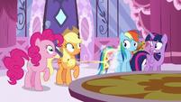 Pinkie, AJ, Rainbow, and Twilight see Fluttershy runs off S6E9