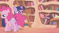 Pinkie Pie storming out of the library S1E05