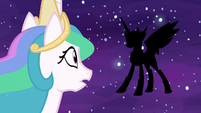 Princess Celestia looks at Daybreaker's silhouette S7E10