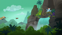 Quibble goes flying into the forest S6E13