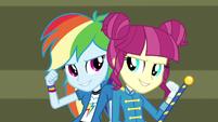 Rainbow and drum majorette back to back EG3
