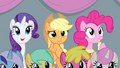 Rarity, Applejack, and Pinkie watching aerial relay S4E24.png
