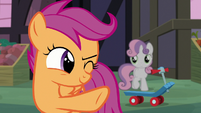 Scootaloo giving Sweetie Belle her signal S8E12